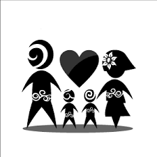 clipart black of family with white background