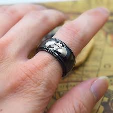 10mm ring personalized batman superman print on a black stainless steel