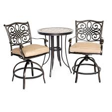 Hanover Patio Furniture Monaco 3 Piece High Dining Bistro Set Mondn3pcsw Br