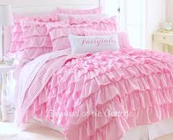 dreamy pink tales ruffled quilt