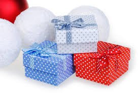new year box new year christmas gift white blue box with a bow on a white