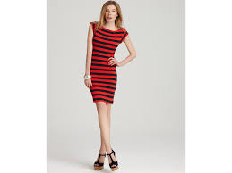 french connection stretch stripe boatneck dress in red lyst