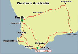albany map perth to denmark map