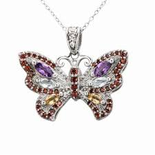 butterfly pendant necklace silver images Blue topaz citrine garnet solid 925 sterling silver butterfly jpg