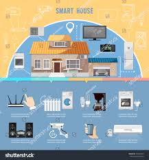 smart home infographic remote control house stock vector 594693929