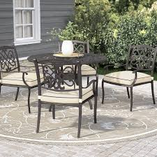 Patio Dining Chairs With Cushions Darby Home Co Hanson Stacking Patio Dining Chair With Cushions