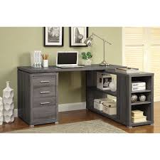 parson corner desk with shelving unit weathered gray