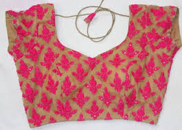 what compliments pink beige with pink thread work super net blouse blouse and backs