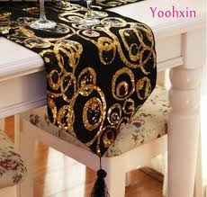 gold table runner and placemats luxury gold bling black satin sequin bed table runner towel placemat