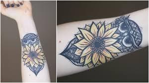 how to fake tattoo w makeup owl sunflower youtube