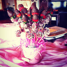 marshmallow chocolate strawberry and cake pop arrangement for a