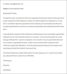 resignation letter format two weeks notice before leave emailtwo