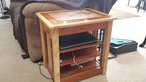chairside table with charging station stylish end tablecharging station bob areddy lumberjocks end table