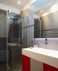 apartment creative grey slate tile wall in bathroom decoration