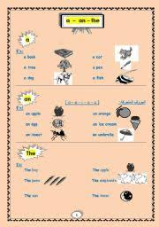 english worksheets a an the definite and indefinite articles