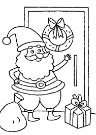 coloring pictures of santa hats pages claus and reindeer knocking