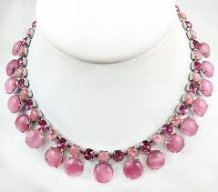 pink rhinestone necklace images Pink moonstone and rhinestone necklace garden party collection jpg