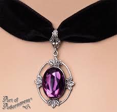 black necklace with crystal images Dionysia purple crystal pendant black velvet choker art of adornment jpg