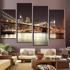 popular brooklyn bridge art buy cheap brooklyn bridge art lots 4 pcs set modern wall painting brooklyn bridge night combined paintings canvas wall art picture