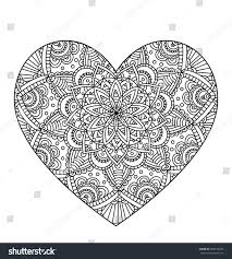 vector drawing heart mandala pattern isolated stock vector