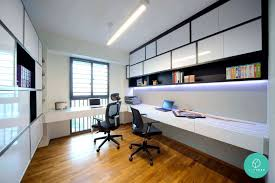 Modern Study Desk by Modern Home Office And Study Room Design Idea With Long Wall Desk