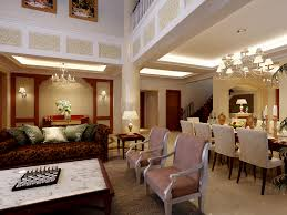 Livingroom Theaters Portland Design Chinese Style Double High Ceiling Living Room Tv Background