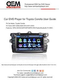 calaméo toyota corolla dvd navigation user manuals