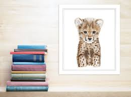 Woodland Animal Nursery Decor by Safari Animal Nursery Baby Cheetah Print Animal Art Cheetah