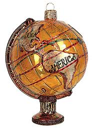 antique world globe blown glass ornament