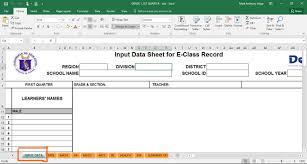 deped electronic class record ecr templates teacherph