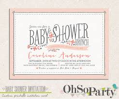 brunch invitation ideas baby flora custom baby shower brunch invitation card by ohsoparty