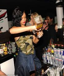 rihanna serves drinks at after party daily mail online