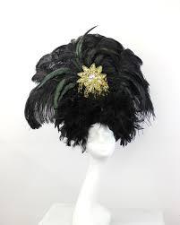 black feather showgirl headdress burlesque costume black