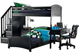 bunk beds with desk underneath
