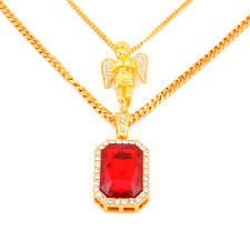 red stones gold necklace images Buy men 39 s iced out gold necklace set hip hop jpg