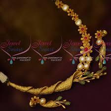 gold flower necklace designs images Nl10635 one gram gold floral uneven shape stylish gold design ruby JPG