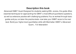 Seeking Book Pdf Read Advanced Gmat Quant Gmat Strategy Guides Pdf Books