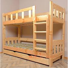 Solid Pine Wood Bunk Bed Bambi With Mattresses And Drawers X C - Solid wood bunk bed
