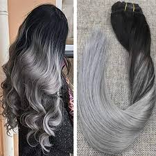 silver hair extensions 9 pcs balayage black to silver clip in human hair extensions 1b