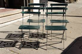 Retro Folding Lawn Chairs A Set Of Four Vintage French Bistro Folding Chairs At 1stdibs
