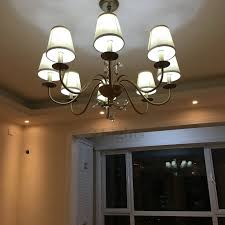 Chandelier Shade 8 Light Fabric Shade Iron And Crystal Chandelier For Bedroom