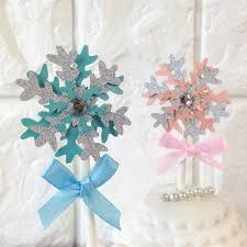 snowflake cake topper 5pcs cake baking pink blue paperboard snowflake cake topper snow