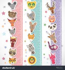 children height meter wall sticker set stock illustration children height meter wall sticker set funny animals muzzle stiker with stars pink lilac blue