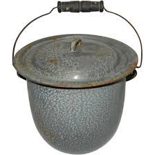 antique pot metal ls vintage covered granite ware slop jar or chamber pot sold ruby lane