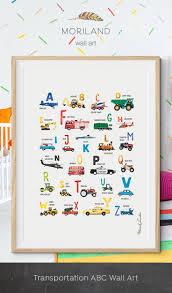 Transportation Nursery Decor Alphabet Print Transportation Alphabet Poster Abc Poster