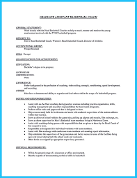 Resume Sample Graduate Assistant by Captivating Thing For Perfect And Acceptable Basketball Coach Resume