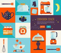articles de cuisine couverture de livre de cuisine dans des couleurs lumineuses