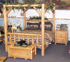 Unfinished Pine Bedroom Furniture by Rustic Pine Log Canopy Bed