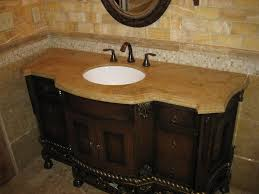 cream color granite countertop mounted washbasin round mirror with