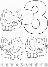 learn number 3 elephants colouring happy colouring